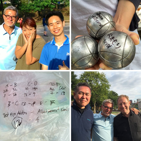 small summer club tournament, signed boules, results, Hiro, Adrian and Brett - the winners