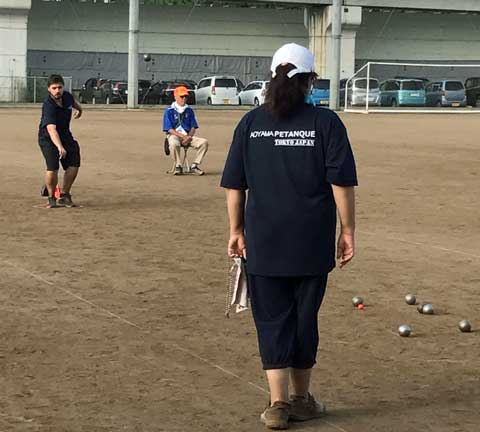 Kevin in action for Japanese petanque