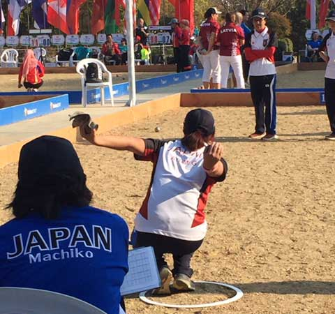 2017 Women Petanque World Championship Kaihua China Ayumi Goma playing